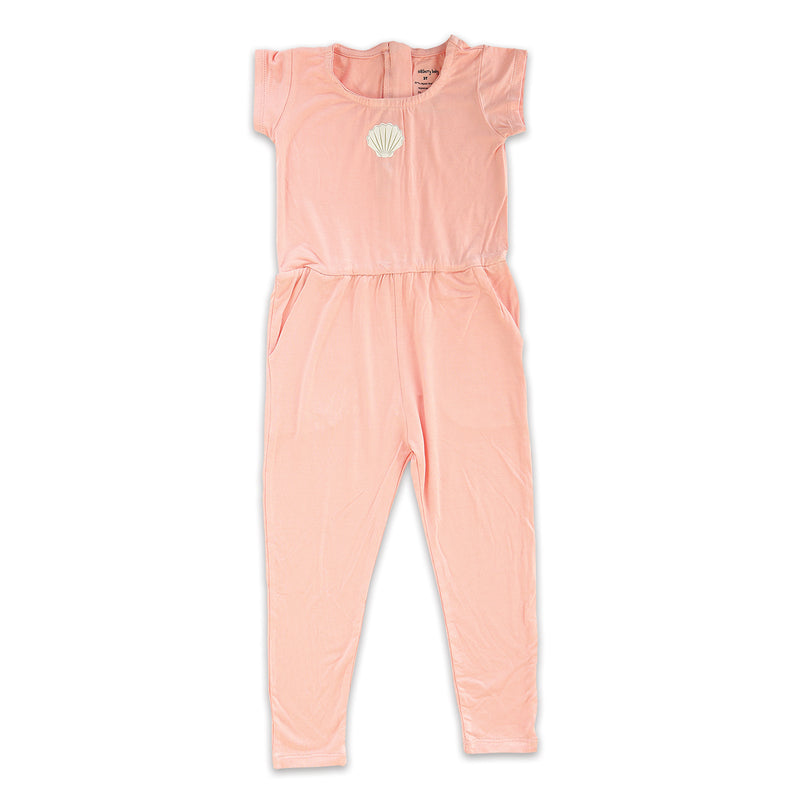 Bamboo Girl Coverall with Zipper (Powder Pink)
