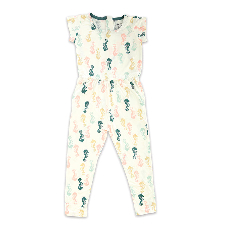Bamboo Girl Coverall with Zipper (Seahorse Print)