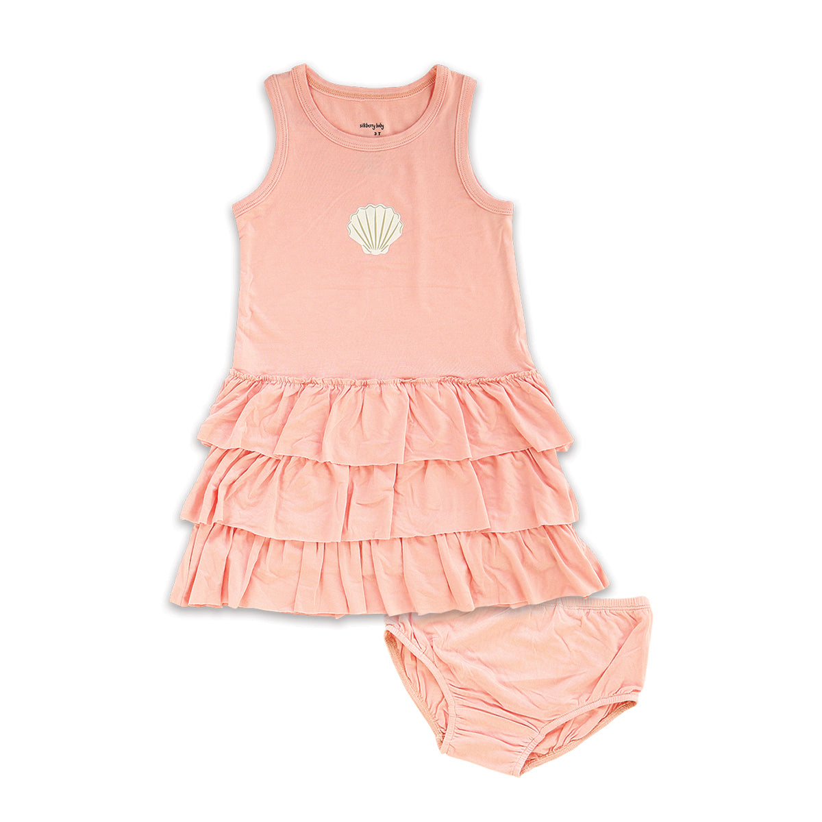 Bamboo Ruffle Dress with Bloomer (Powder Pink)