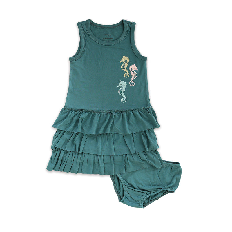 Bamboo Ruffle Dress with Bloomer (Stormy Teal)