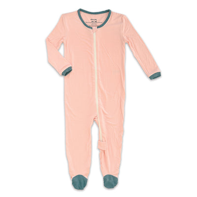 Bamboo Footies with Easy Dressing Zipper-Powder Pink