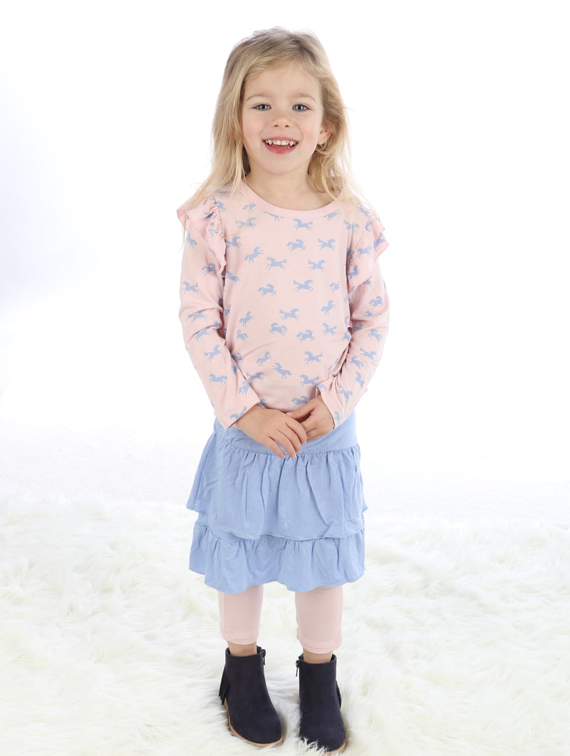 Bamboo Long Sleeve Ruffle Tee (Unicorn Print)