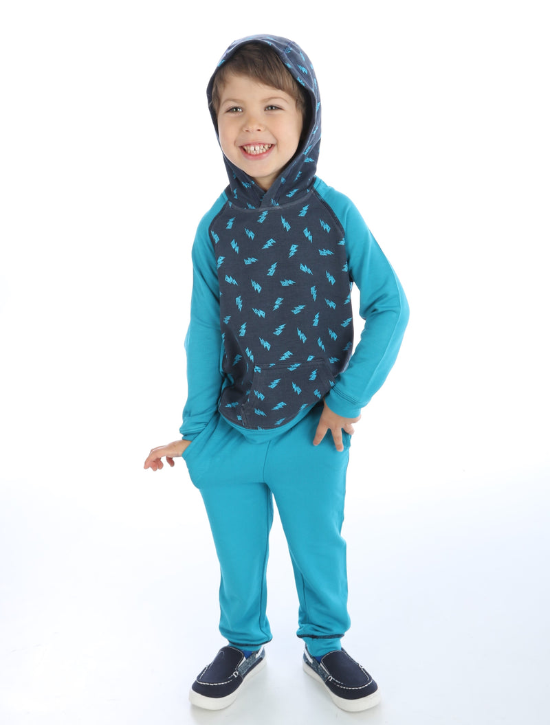 Bamboo Fleece Hooded Jacket (Scribble Lightning Print)