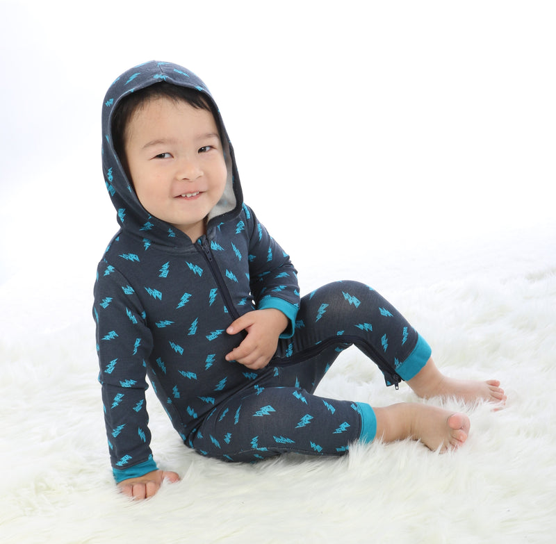 Bamboo Fleece Hooded Romper with Two-way Zipper (lightning print)