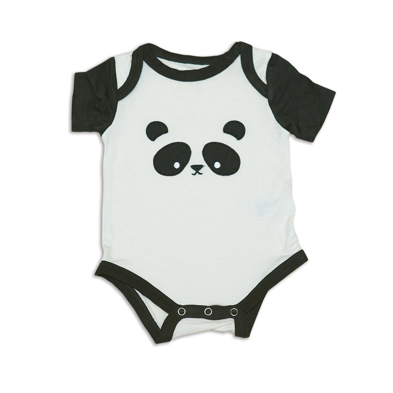 Bamboo Short Sleeve Onesie (Feather/Panda)