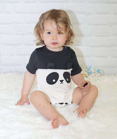 Bamboo Short Sleeve Romper (Feather/Panda)