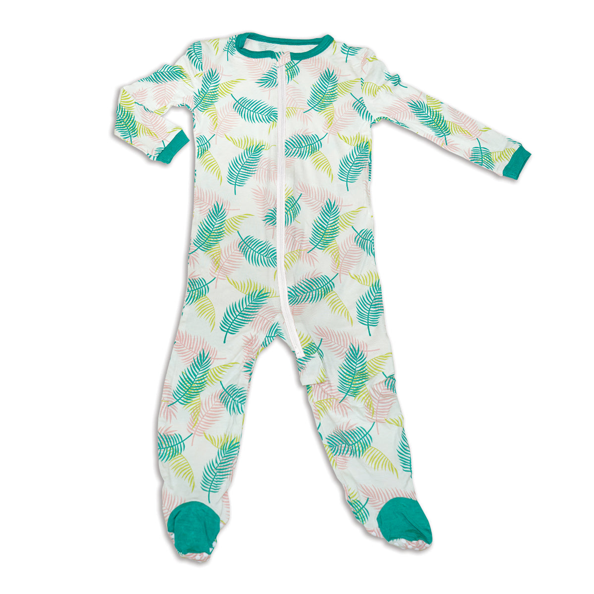 Bamboo Zip up Footed Sleeper (Tropical Palm Print)