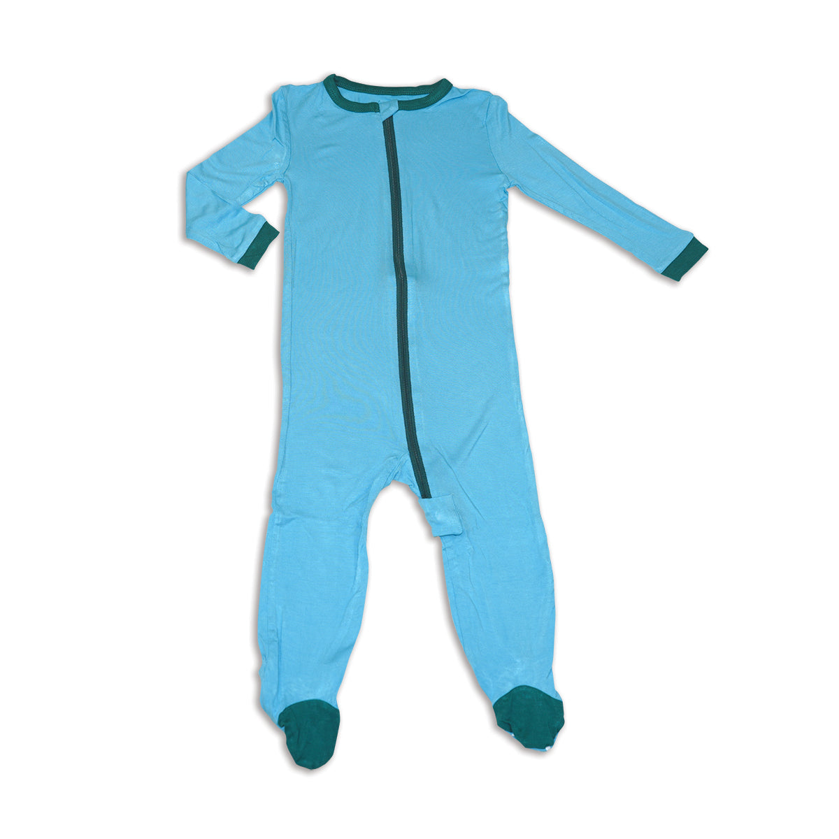 Bamboo Zip up Footed Sleeper (Surf)