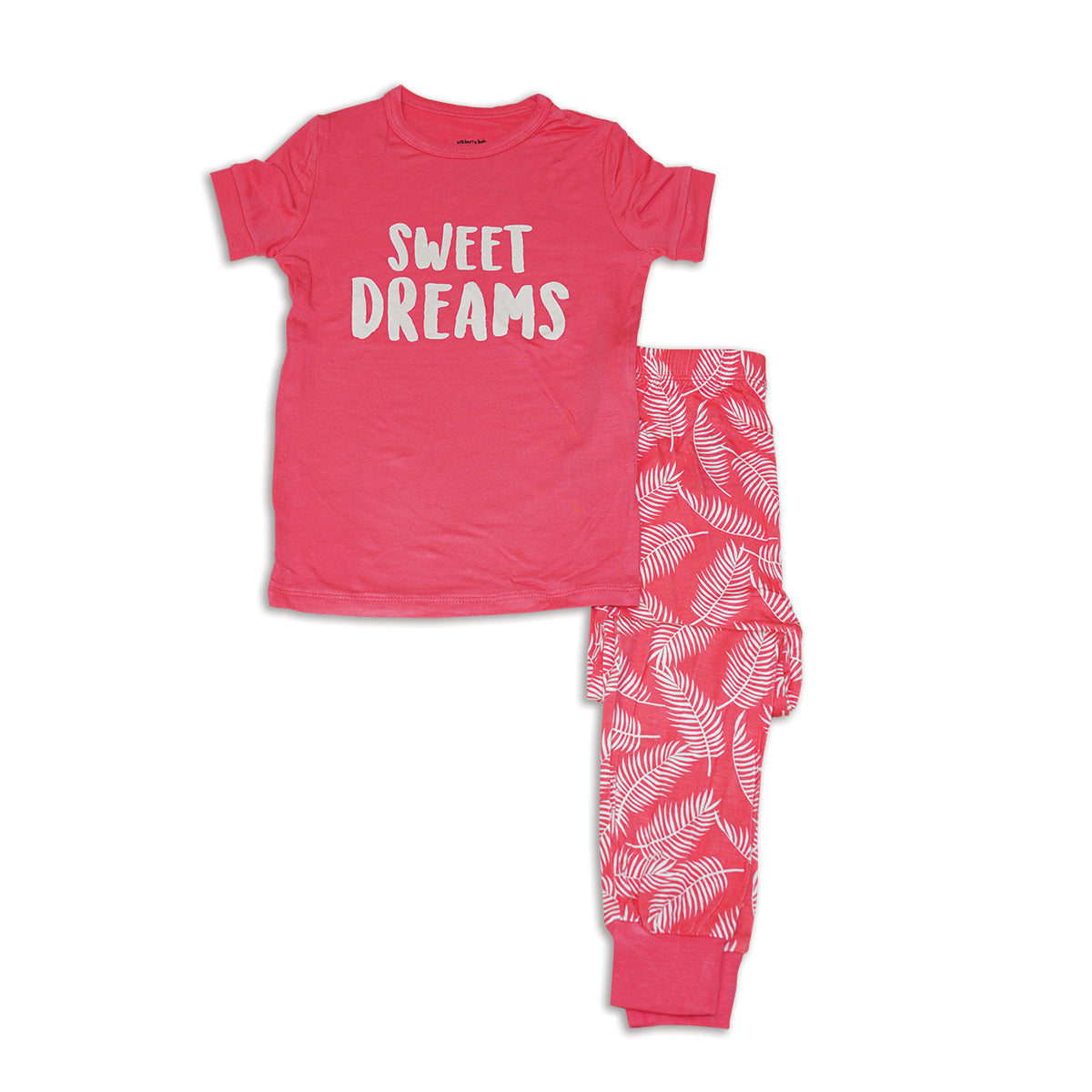 Bamboo Short Sleeve Pajama Set (Coral Crush/Breezy Leaves)