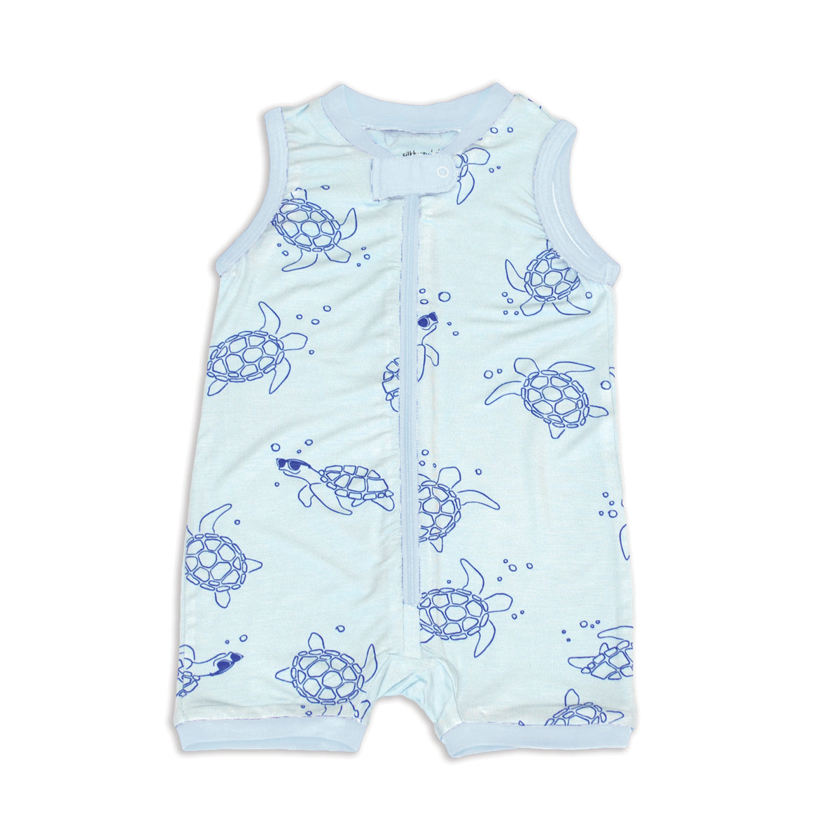 Bamboo Sleeveless Romper with Zipper (Sea Turtle Print)