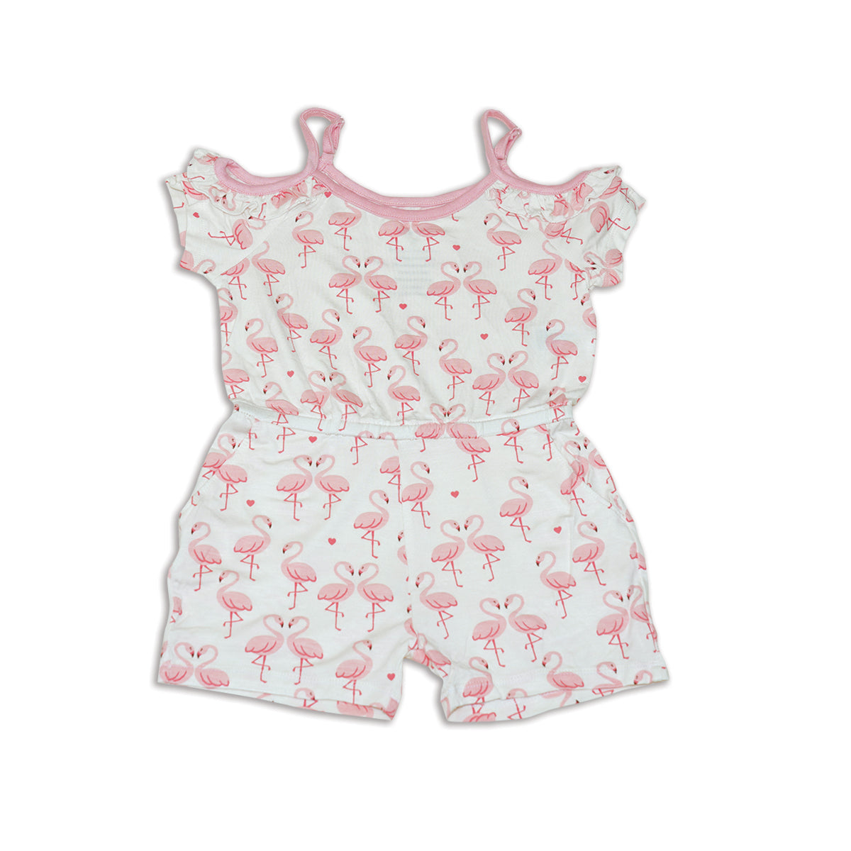 Bamboo Cold Shoulder Coverall (Flamingo Love Print)