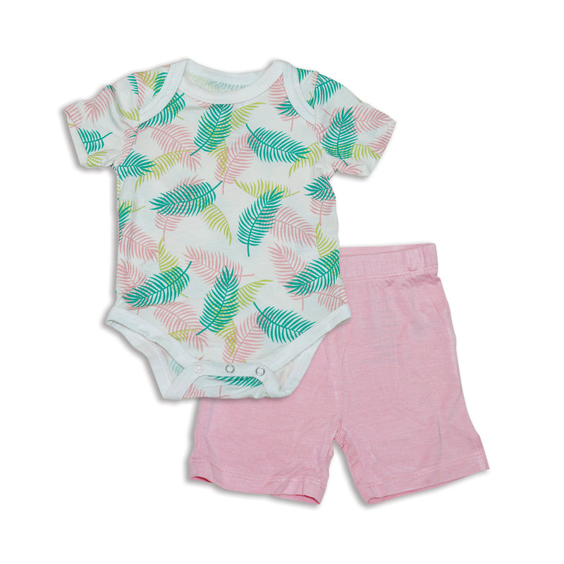 Bamboo Onesie & Short Set (Tropical Palm Print)