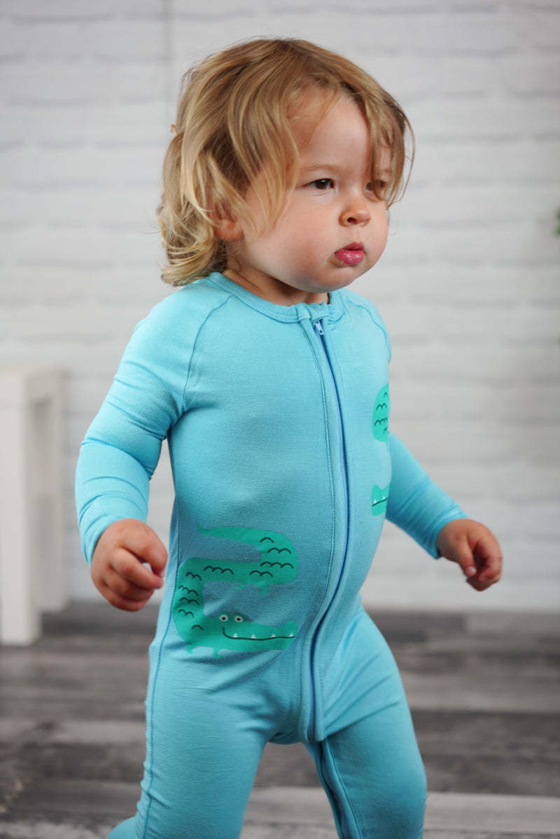 Bamboo Two-way Zipper Romper/Sleeper (Surf)