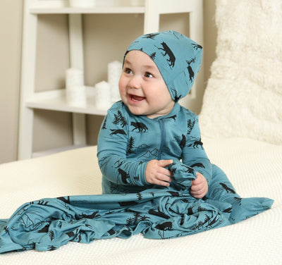 bamboo zip up footed sleeper, matching beanie and blanket