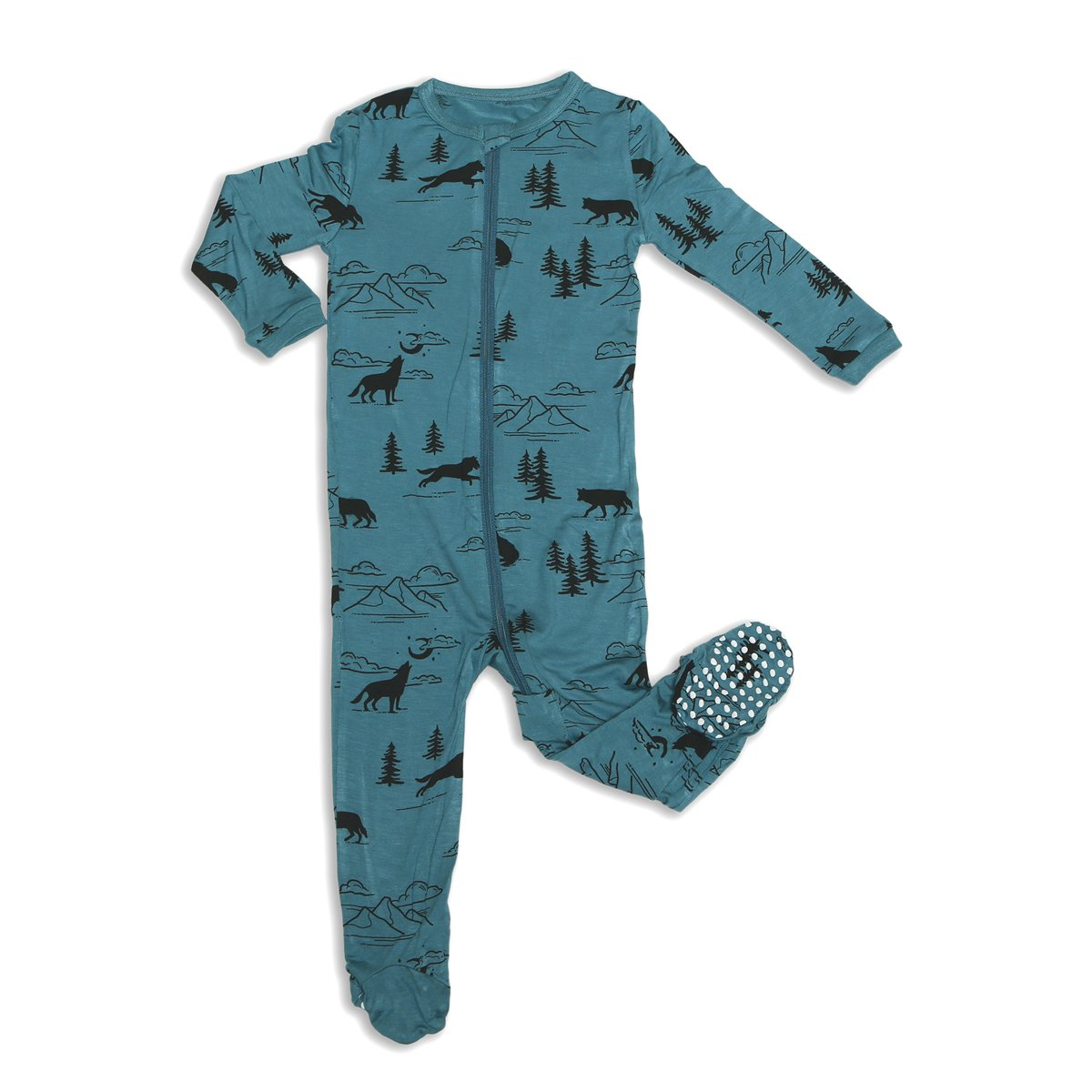 bamboo zip up footed sleeper call of the wild print