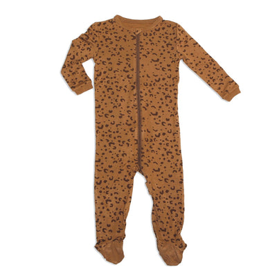 bamboo zip up footed sleeper geometric leopard print