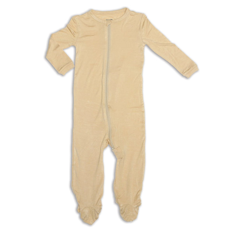 bamboo zip up footed sleeper pie crust color
