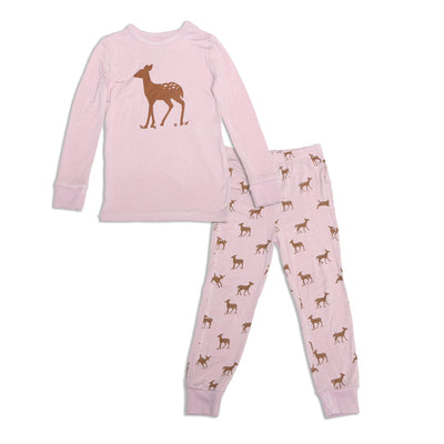 bamboo long sleeve pajama set autumn deer print