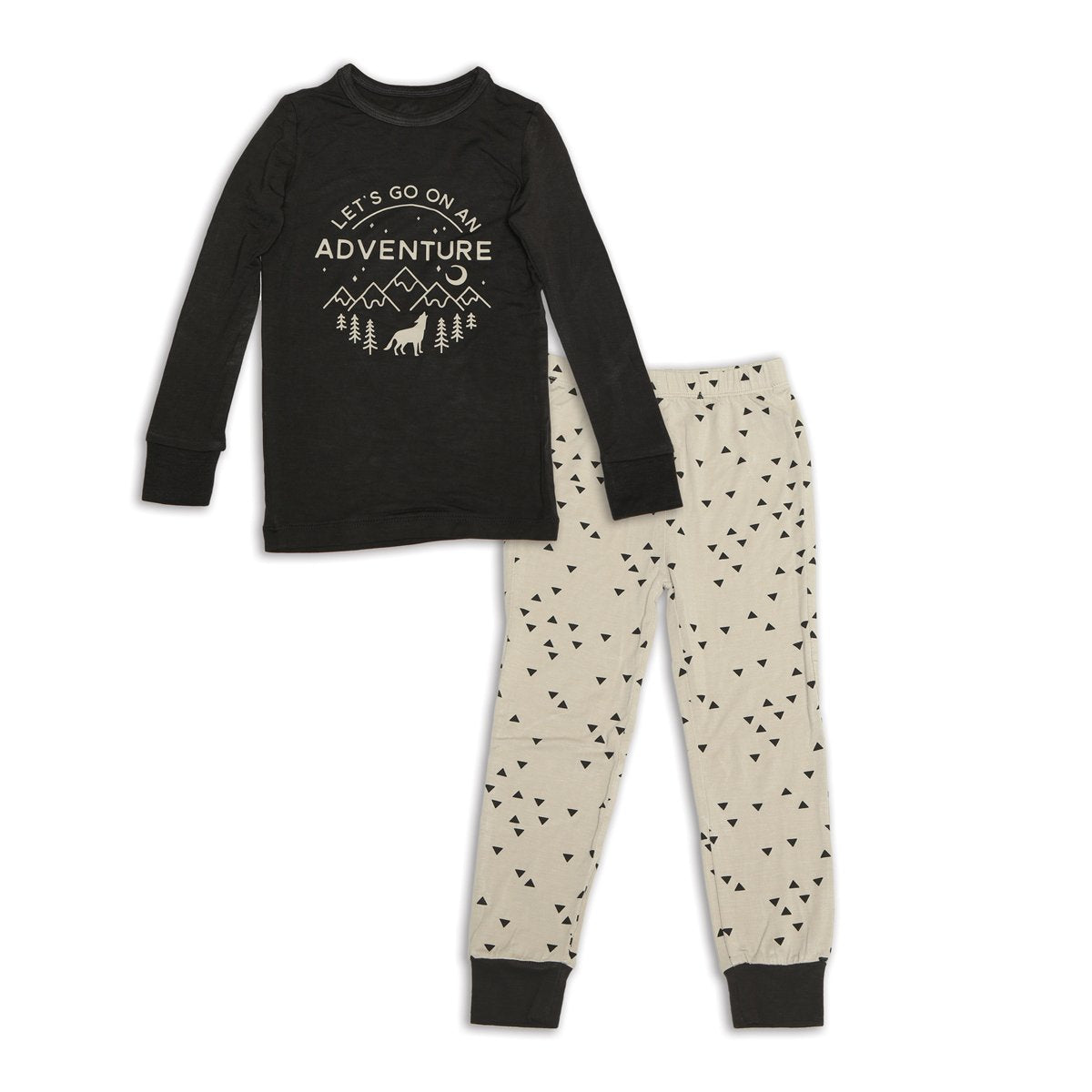 bamboo long sleeve pajama set pirate ship & apex print