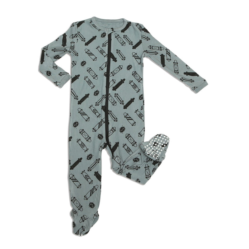 bamboo fleece footed sleeper with easy dressing zipper rad skateboard print