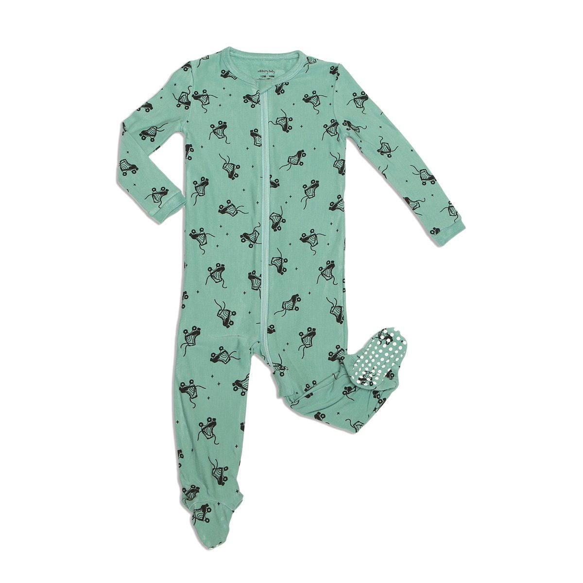 bamboo fleece footed sleeper with easy dressing zipper roller booties print