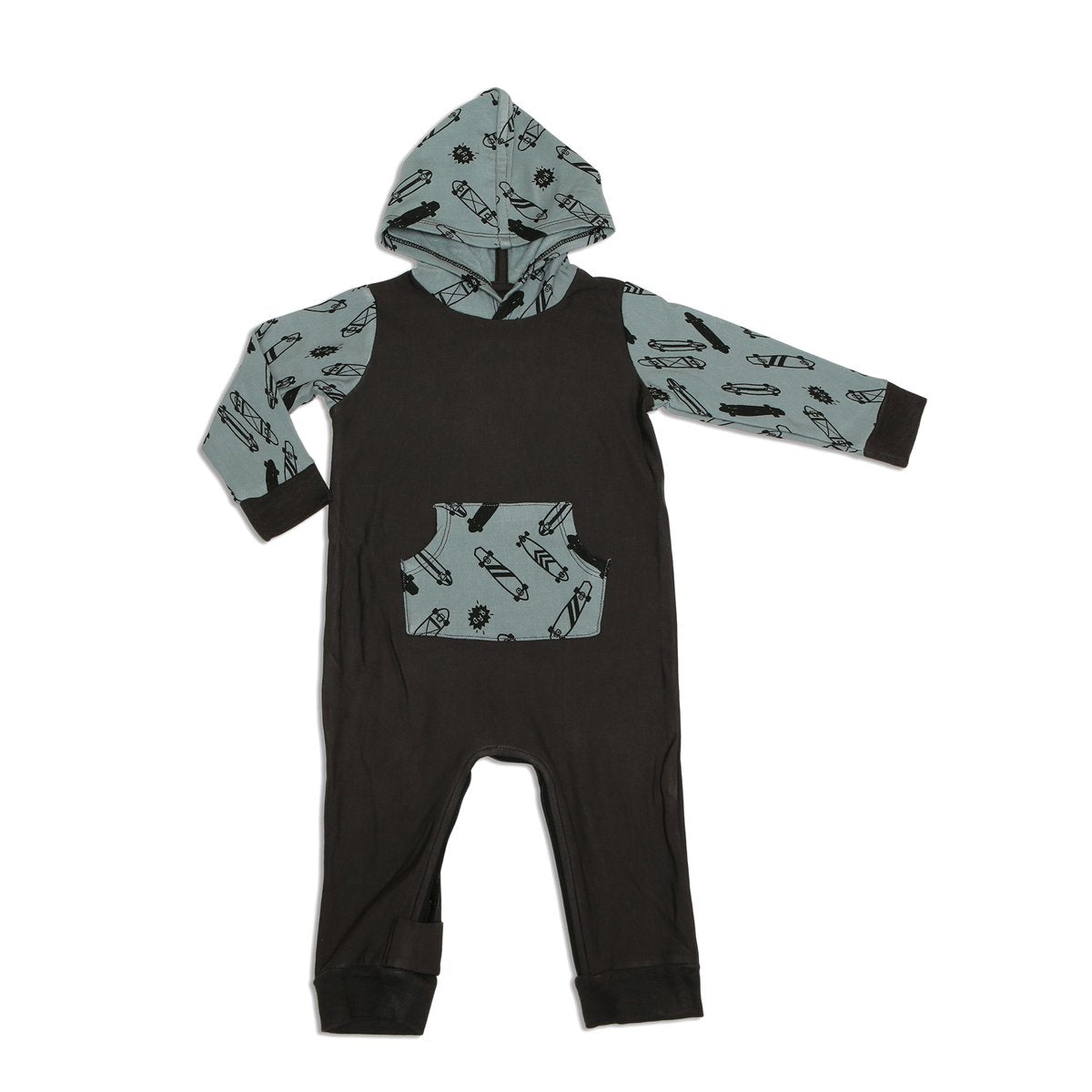 bamboo fleece hooded romper with easy dressing zipper