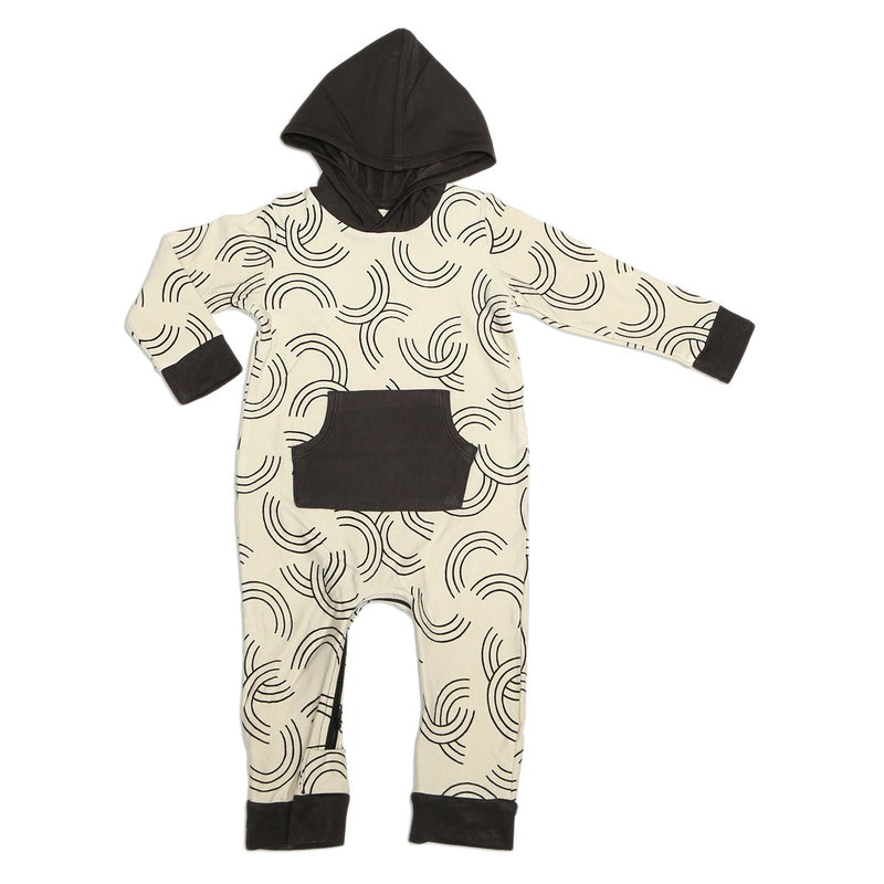 bamboo fleece hooded romper with zipper rainbow toss print
