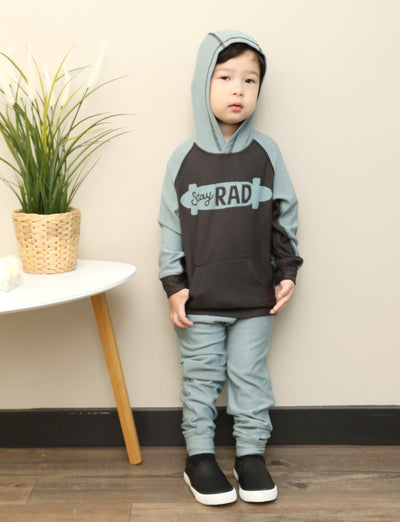 soft bamboo fleece harem hoodie & matching pants for boy