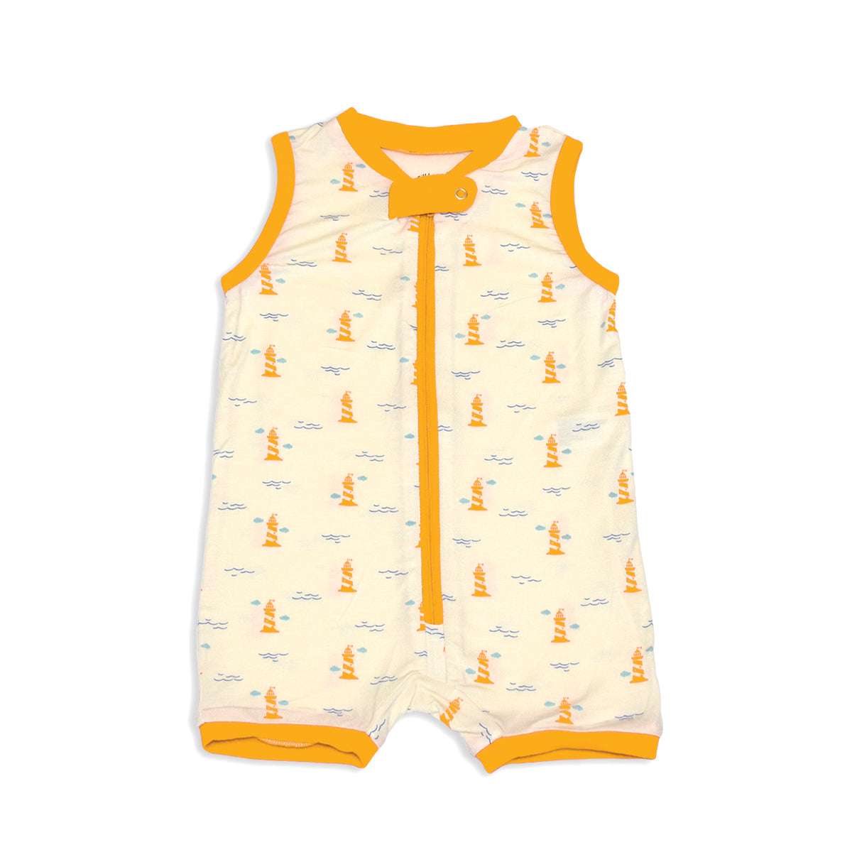 Bamboo Sleeveless Romper with Zipper (Lighthouse Print)