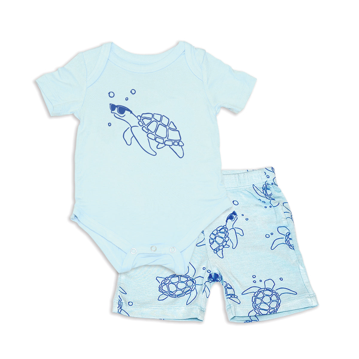 Bamboo Short Sleeve Onesie & Short Set (Starlight/Sea Turtle Print)