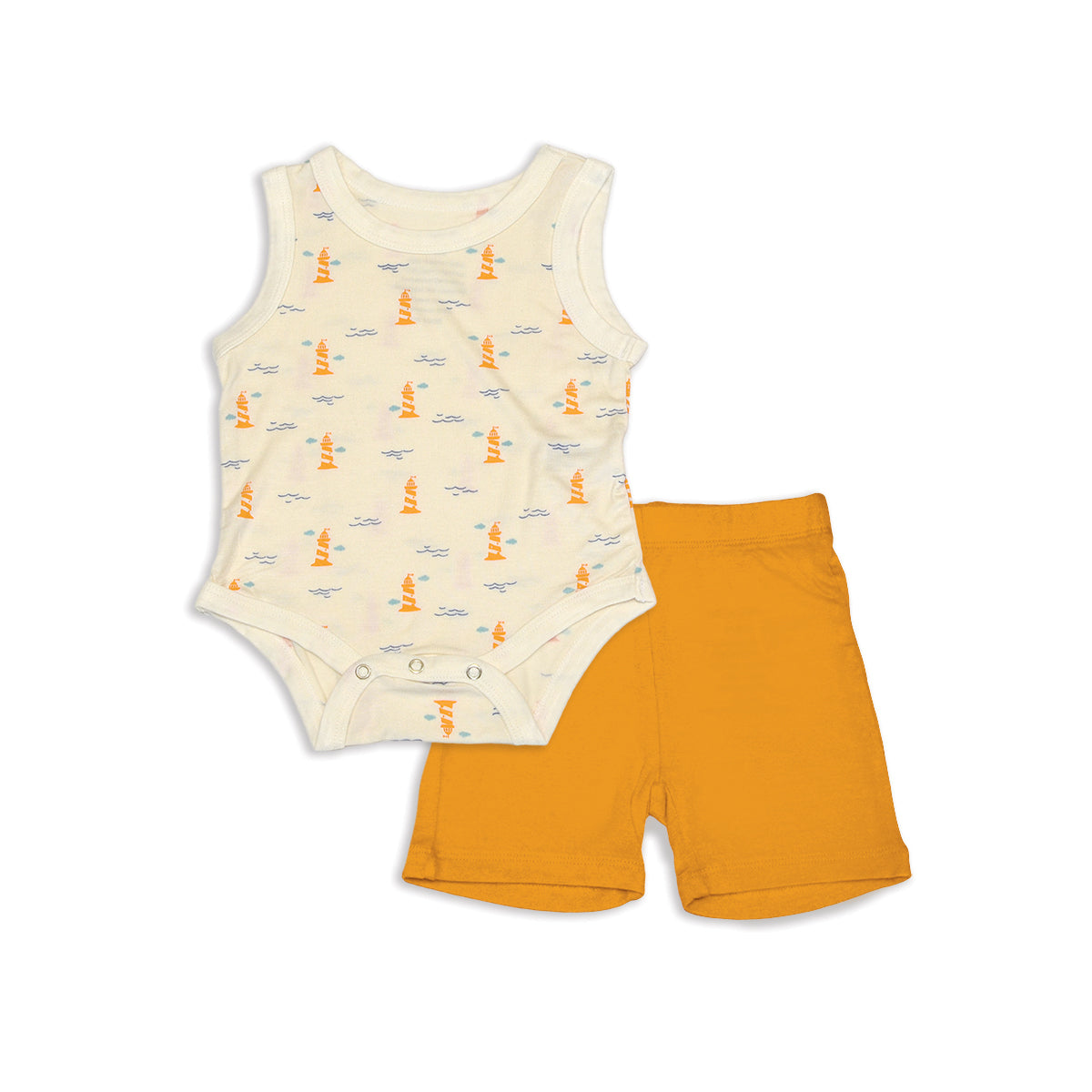 Bamboo Tank Bodysuit & Short Set (Lighthouse Print/Sunset)
