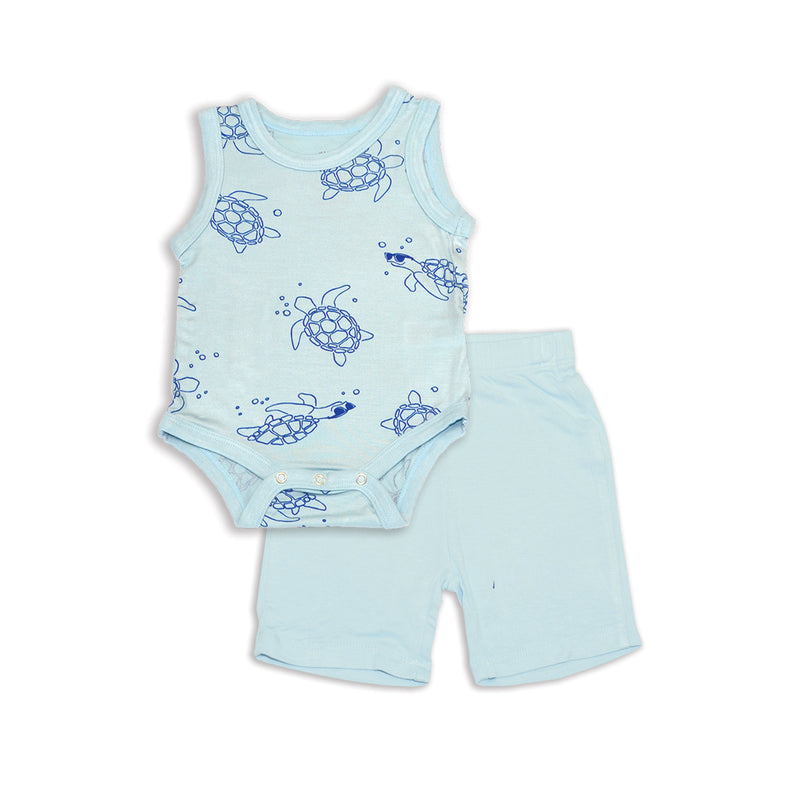 Bamboo Tank Bodysuit & Short Set (Sea Turtle Print/Starlight)