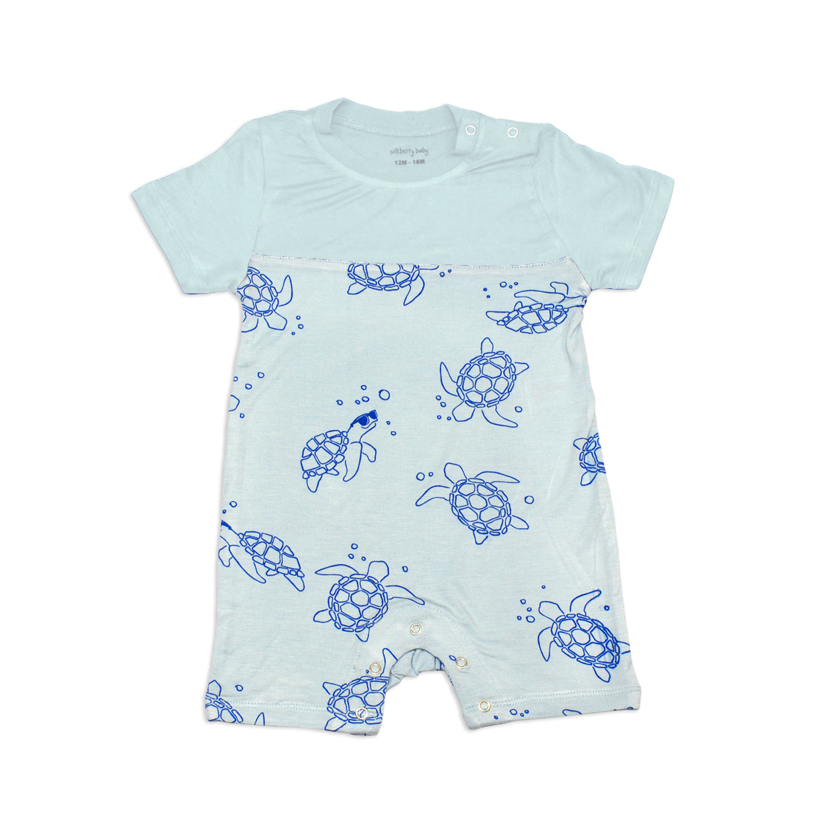 Bamboo Short Sleeve Romper (Sea Turtle Print)