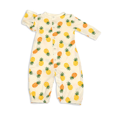 bamboo gown convert into romper with legs pineapple love print