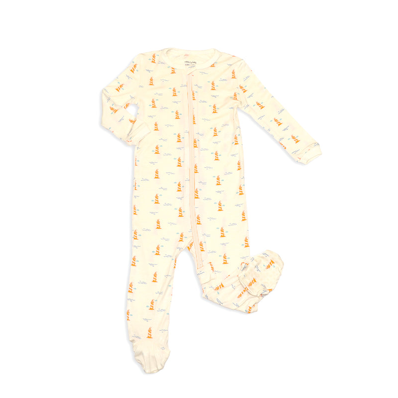 Bamboo Zip-up Footed Sleeper (Lighthouse Print)