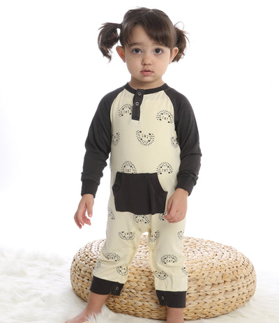 bamboo long sleeve romper with kangaroo pocket