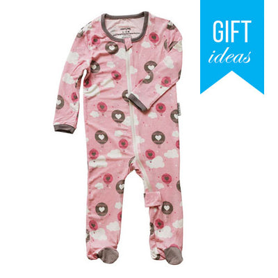 Bamboo Footies with Easy Dressing Zipper - Pink Cloud Air Balloon