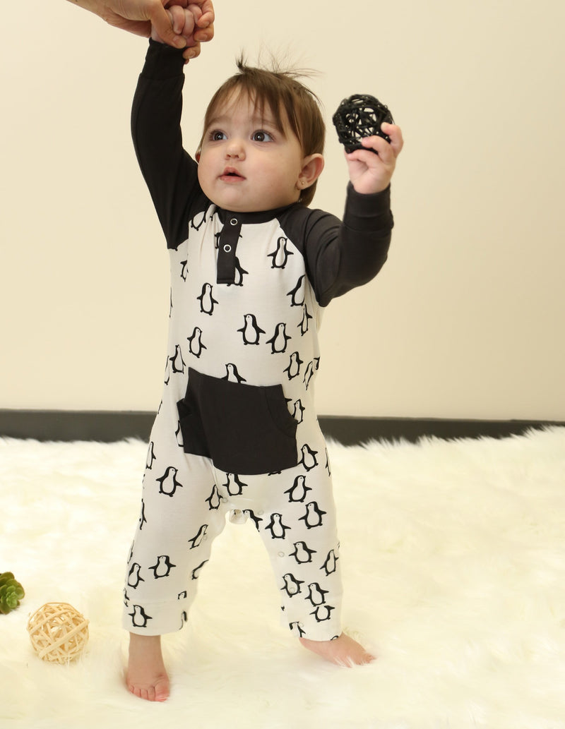bamboo long sleeve romper penguin waddle print