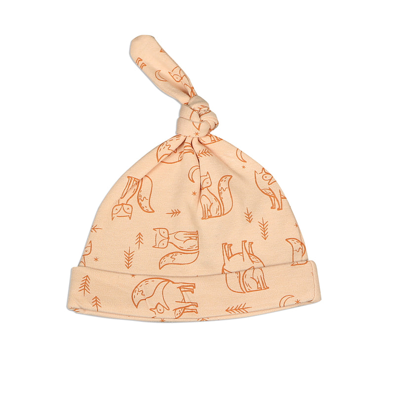 Organic Cotton Knot Hat - Fox Print (Desert Peach/Fox)