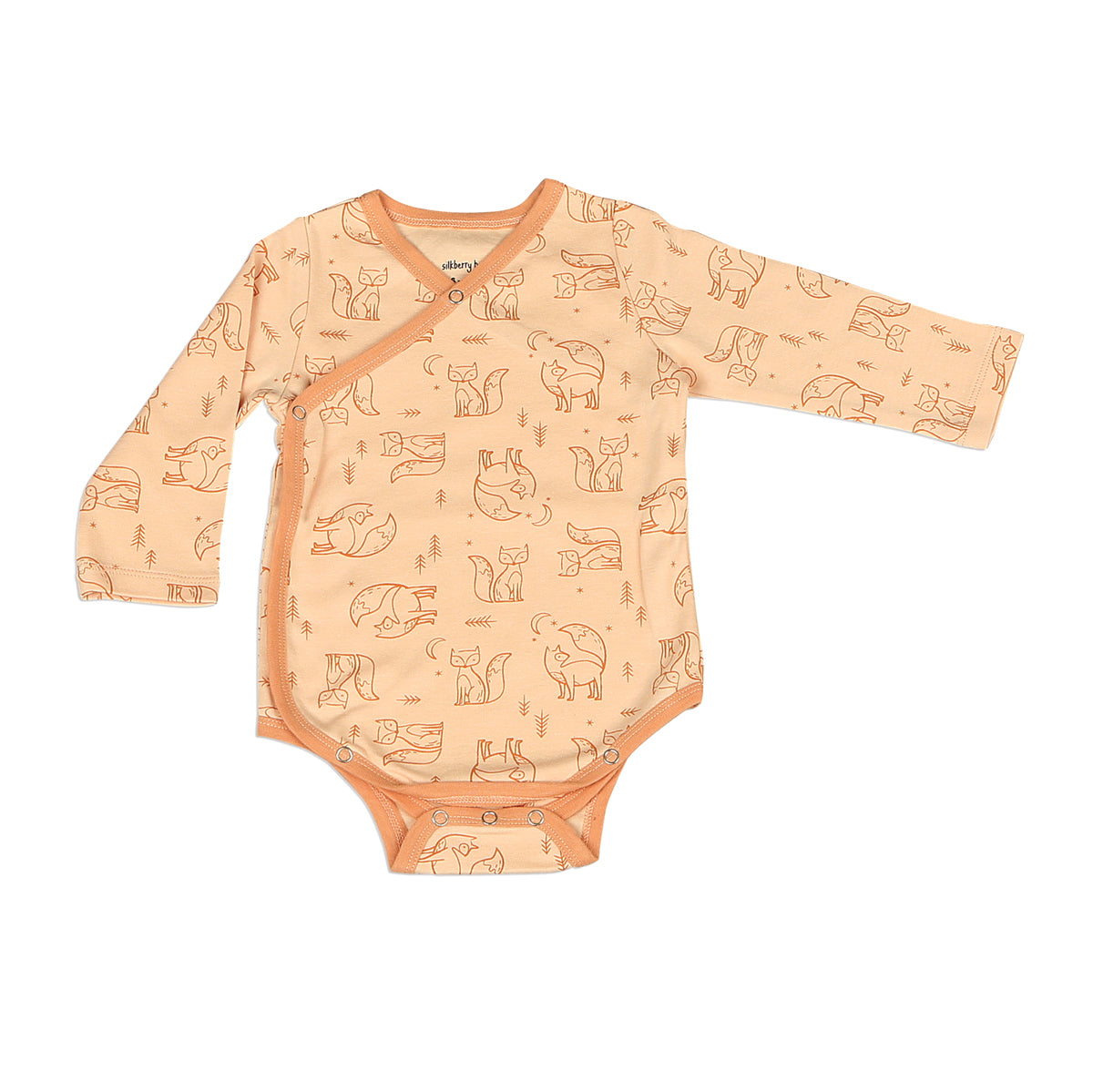 Organic Cotton Onesie Kimono Fox Print (Desert Peach/Fox)