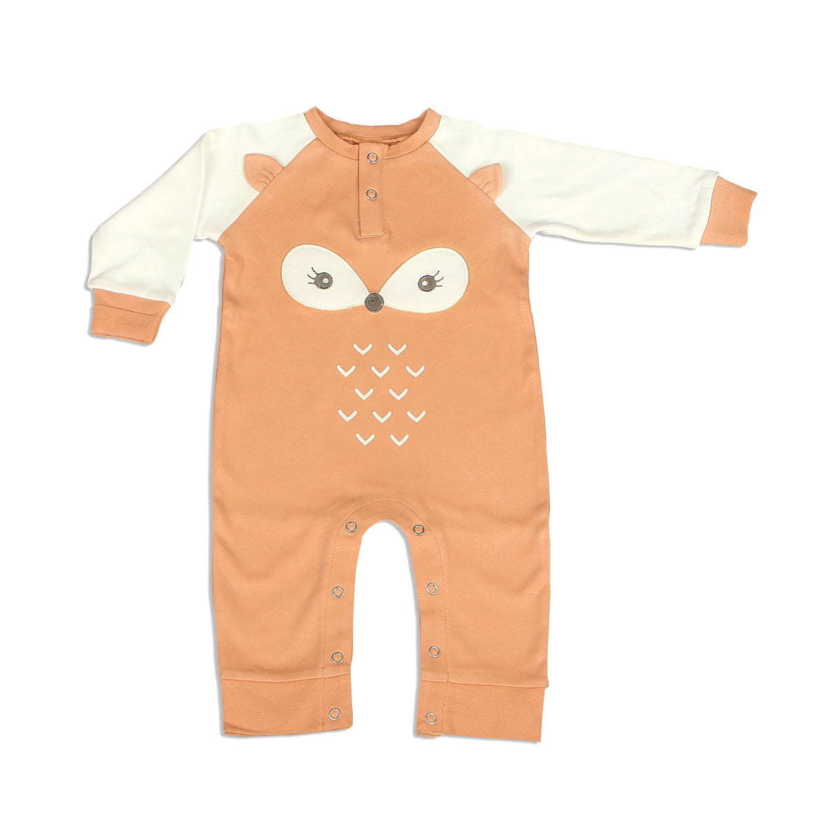 Organic Cotton Long Sleeve Romper with Ears (Apricot/Snow Fox)