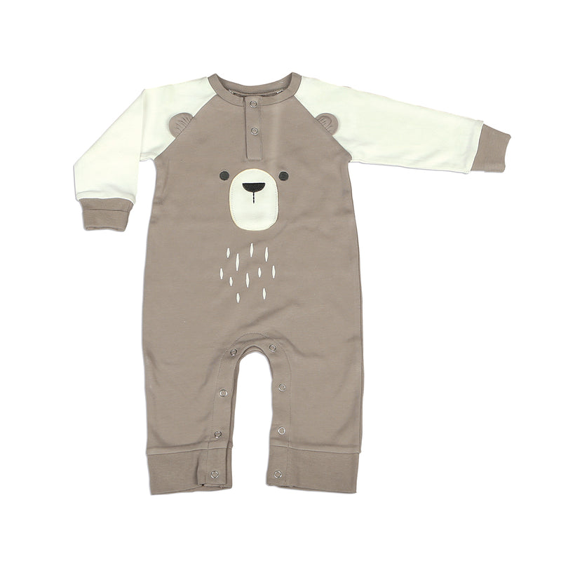Organic Cotton Long Sleeve Romper with Ears (Bear Cub/Snow Bear)
