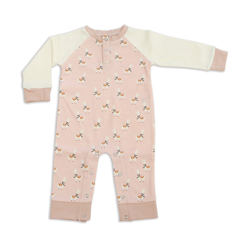 Organic Cotton Long Sleeve Romper(Peach Llama Print)