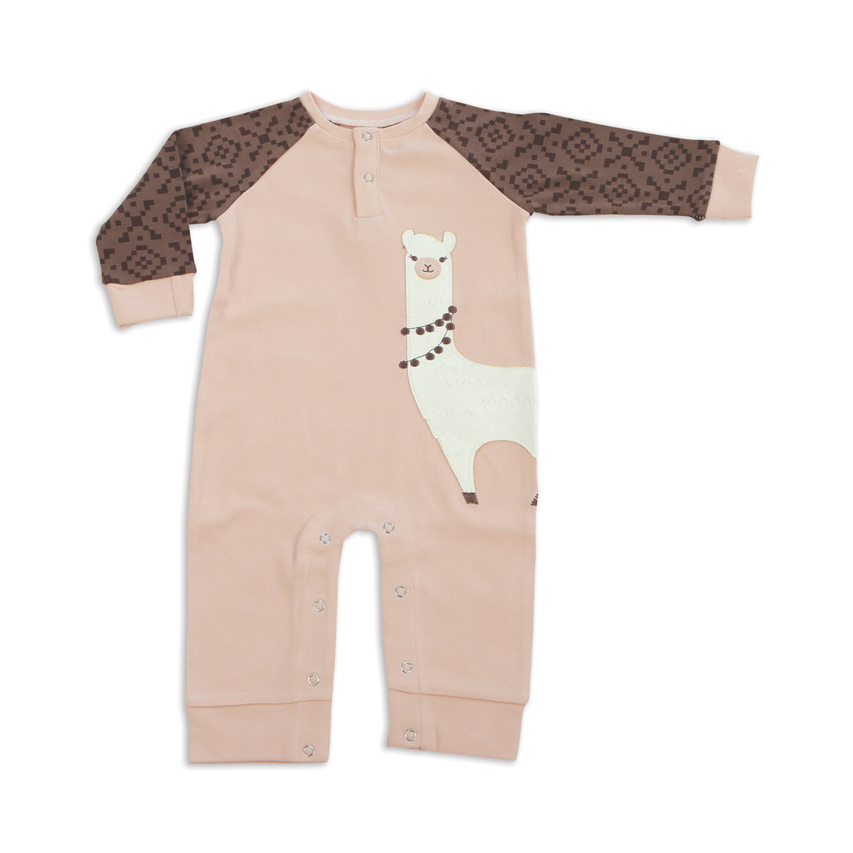 Organic Cotton Long Sleeve Romper(Peach)