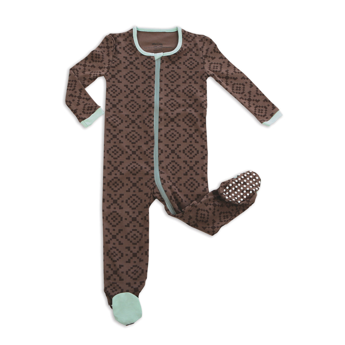 Organic Cotton Footies with Easy Dressing Zipper(Hugs&Kisses Print)