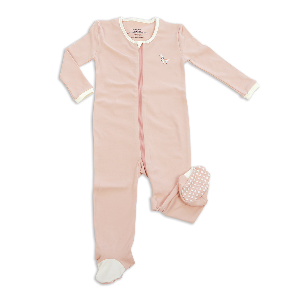 Organic Cotton Footies with Easy Dressing Zipper(Peach)