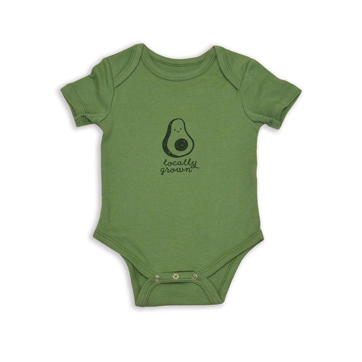 organic cotton short sleeve onesie avocado screen print