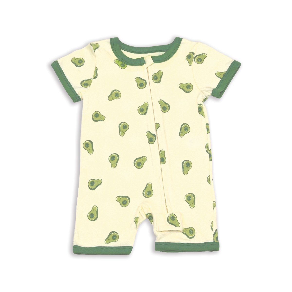 organic cotton short sleeve zippy romper happy avocado print
