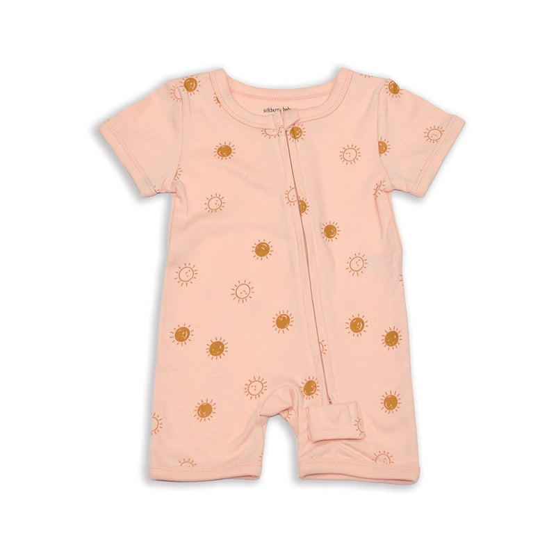 organic cotton short sleeve zippy romper hello sunshine print for girl