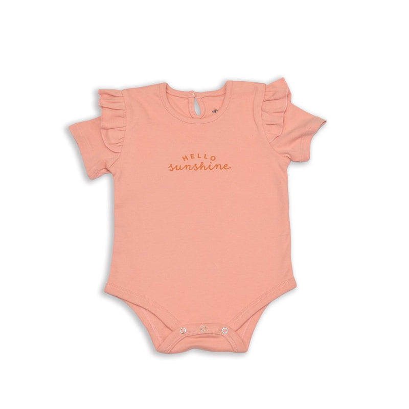 organic cotton flutter sleeve onesie blush color for girl